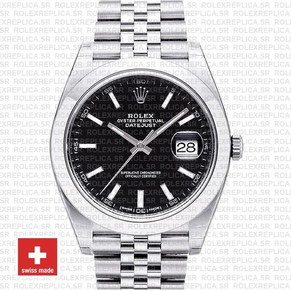 Rolex Datejust Smooth Bezel Black Dial | Rolex Replica Watch