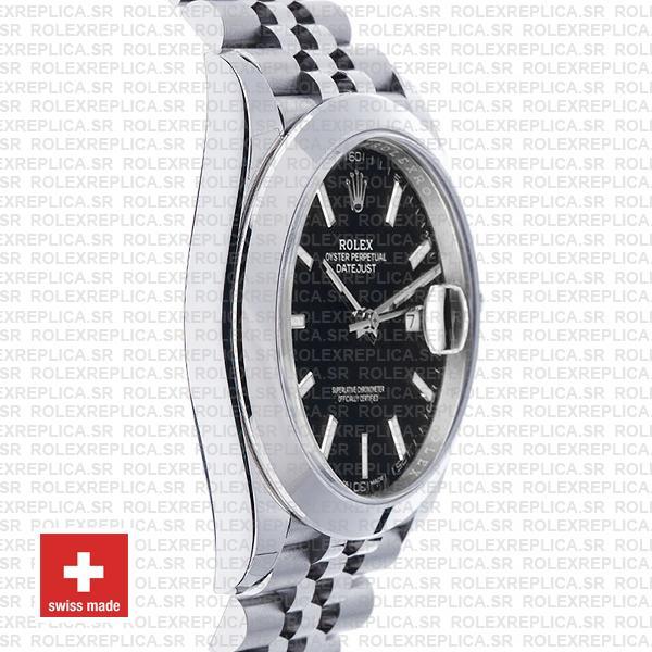 Rolex Datejust Smooth Bezel Black Dial Replica Watch