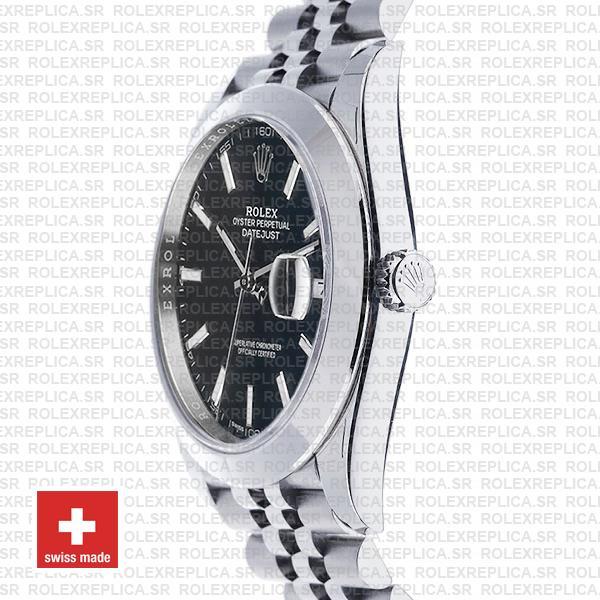 Rolex Datejust Smooth Bezel Black Dial Replica