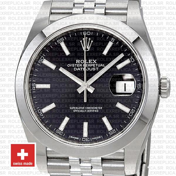 Rolex Oyster Perpetual Datejust 41 Stainless Steel Black Dial Smooth Bezel Watch