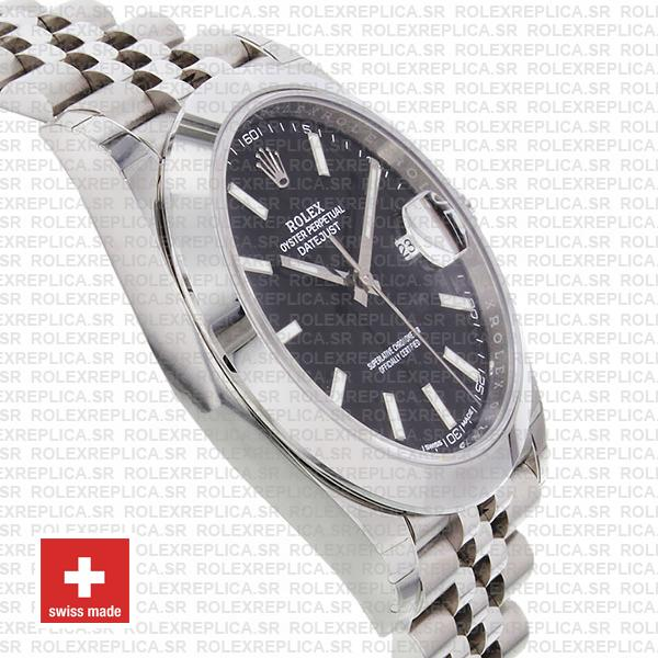 Rolex Oyster Perpetual Datejust 41 Stainless Steel Black Dial Smooth Bezel