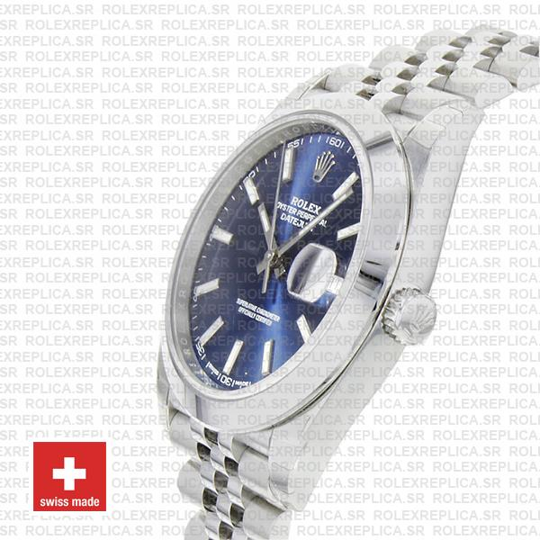Rolex Oyster Perpetual Datejust 41 904L Steel Blue Dial with Smooth Bezel