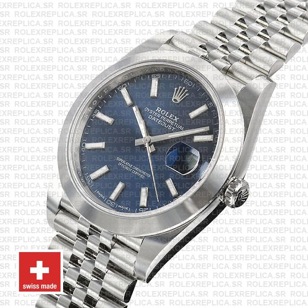 Rolex Datejust 41mm Stainless Steel Blue Dial Swiss Replica