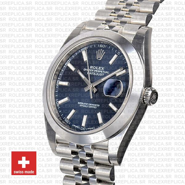Rolex Datejust 41mm Stainless Steel Blue Dial Swiss Replica Watch