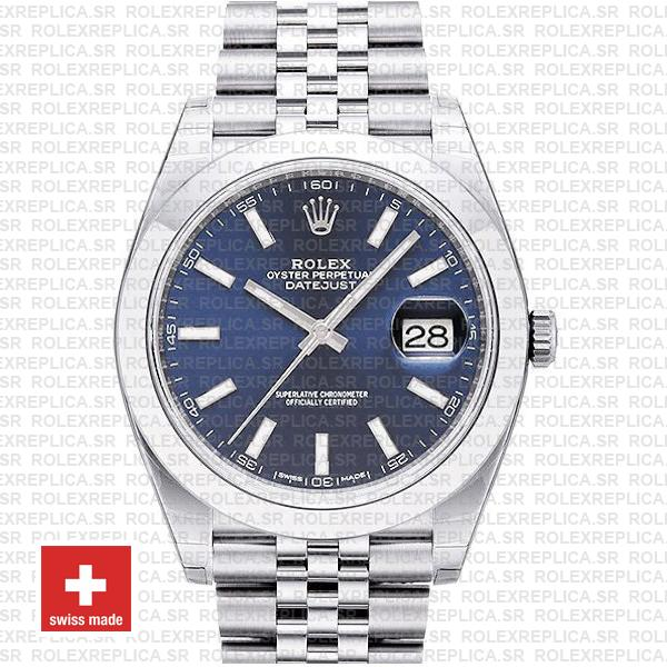 Rolex Datejust 41mm Stainless Steel Blue Dial | Replica Watch