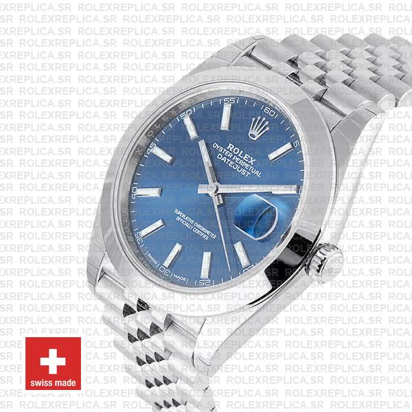 Rolex Datejust 41mm Stainless Steel Blue Dial Replica Watch