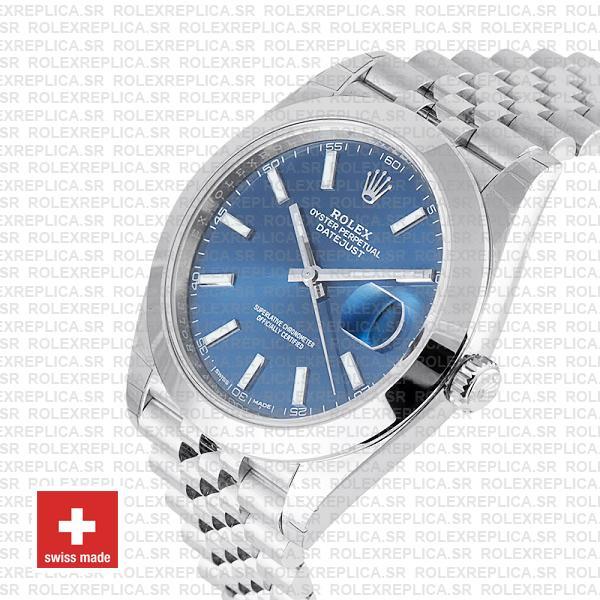 Rolex Datejust 41 Jubilee Steel Smooth Bezel Blue Dial Stick Markers 126300 Swiss Replica