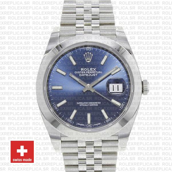 Rolex Oyster Perpetual Datejust 41 904L Steel Blue Dial with Smooth Bezel Jubilee Bracelet Replica Watch
