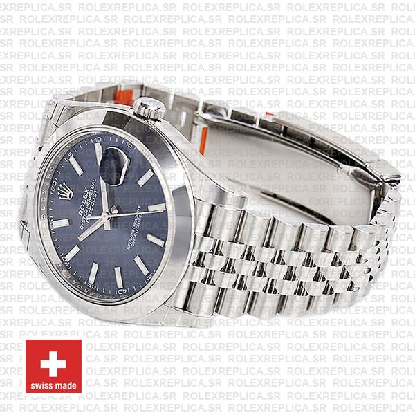 Rolex Oyster Perpetual Datejust 41 904L Steel Blue Dial with Smooth Bezel Jubilee Bracelet Replica