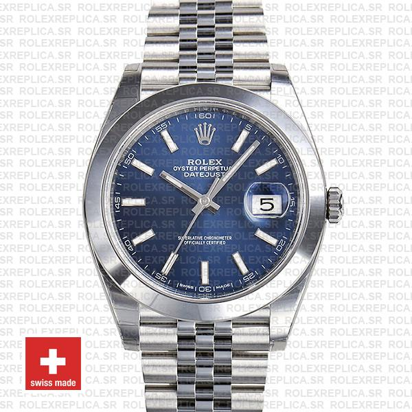 Rolex Oyster Perpetual Datejust 41 904L Steel Blue Dial with Smooth Bezel Jubilee Bracelet
