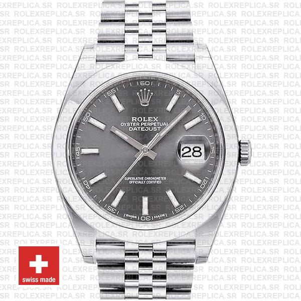 Rolex Datejust 41 Jubilee Steel Smooth Bezel Dark Rhodium Grey Dial Stick Markers 126300 Swiss Replica