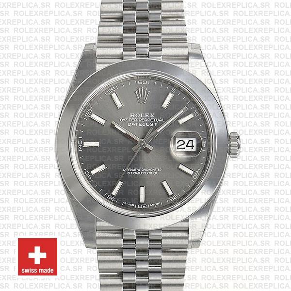 Rolex Datejust 41 Grey Dial Steel Jubilee Bracelet Replica Watch