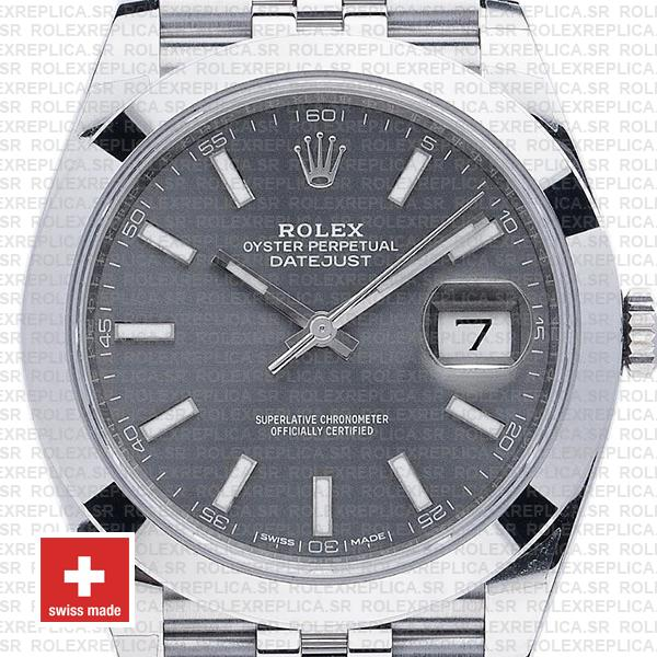 Rolex Datejust 41 Jubilee 904L Steel Smooth Bezel Dark Rhodium