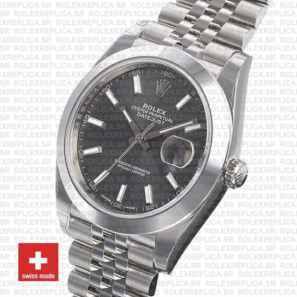 Rolex Datejust 41 Jubilee 904L Steel Smooth Bezel Dark Rhodium Grey Dial 41mm