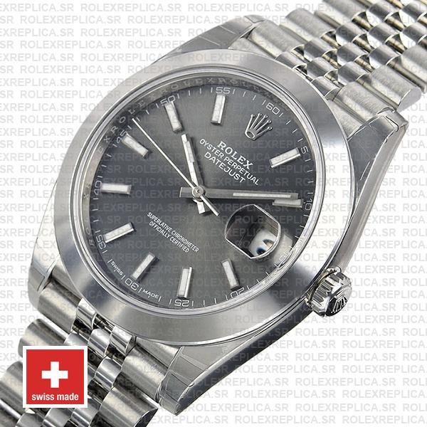 Rolex Datejust 41 Jubilee 904L Steel Smooth Bezel Dark Rhodium Grey Dial