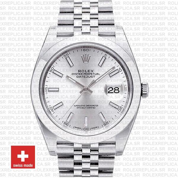 Rolex Datejust 41mm Steel Silver Dial | Rolex Replica Watch