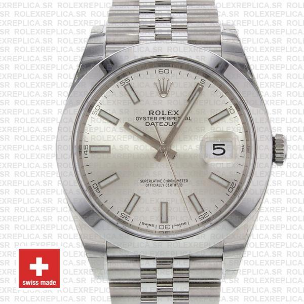 Rolex Datejust 41mm Steel Silver Dial Rolex Replica Watch