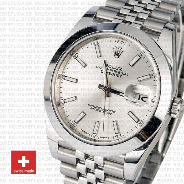 Rolex Datejust 41 Stainless Steel Silver Dial Smooth & Fixed Bezel
