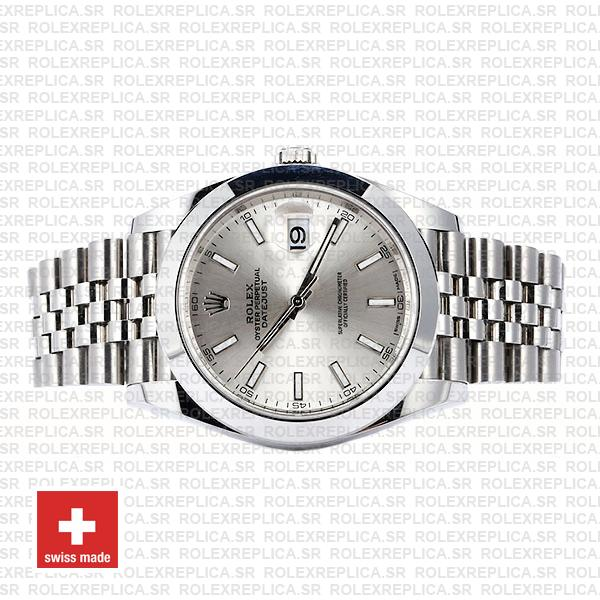 Rolex Datejust 41 Stainless Steel Silver Dial Smooth & Fixed Bezel Swiss Replica Watch
