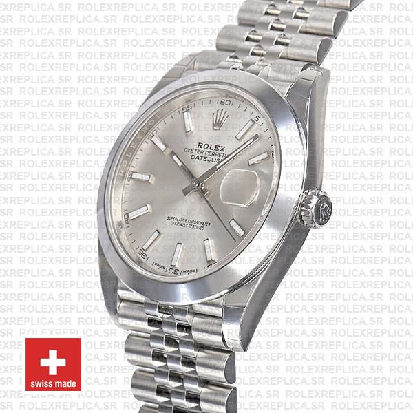 Rolex Datejust 41 Stainless Steel Silver Dial Smooth & Fixed Bezel Replica Watch