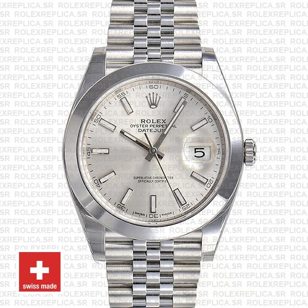 Rolex Datejust 41 Stainless Steel Silver Dial Smooth & Fixed Bezel Replica