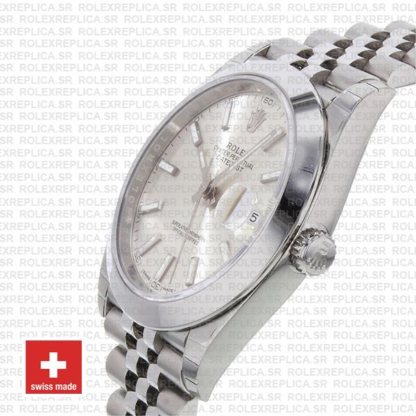 Rolex Datejust 41 Stainless Steel Silver Dial Swiss Replica Watch