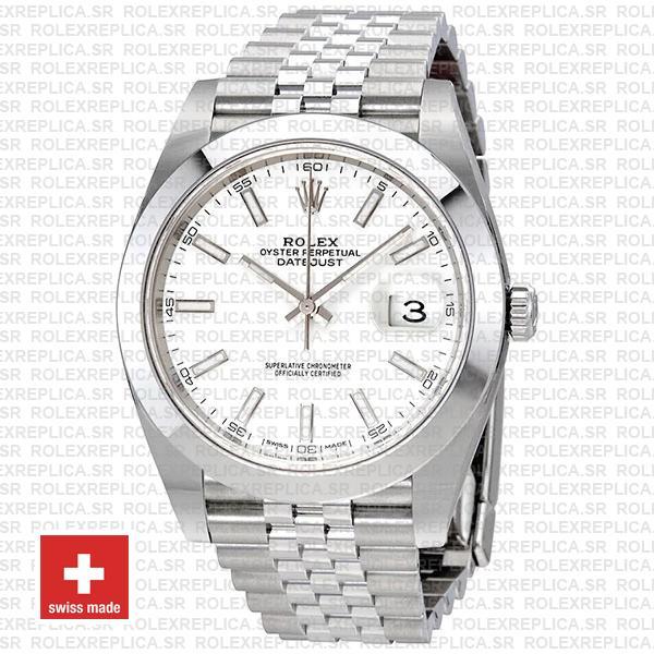 Rolex Datejust 41 904L Steel White Dial Rolex Replica Watch