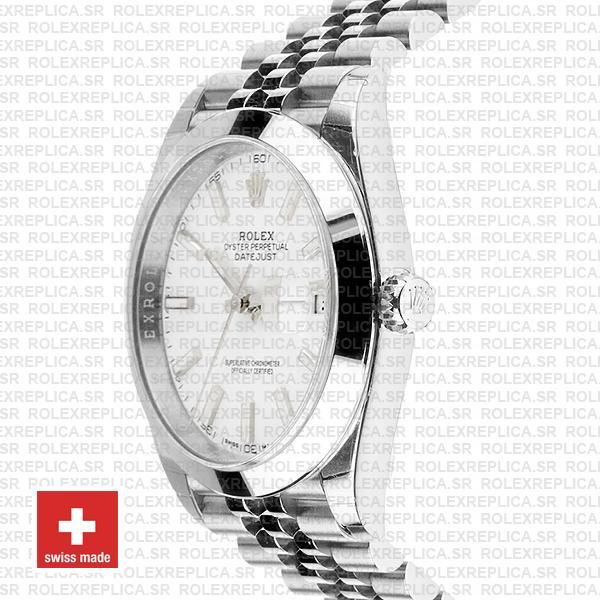 Rolex Datejust 41 Jubilee Steel Smooth Bezel White Dial Stick Markers 126300 Swiss Replica