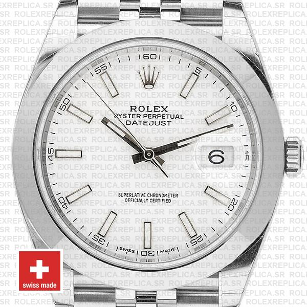 Rolex Datejust 41 Jubilee Steel Smooth Bezel White Dial Stick Markers 126300 Swiss Replica
