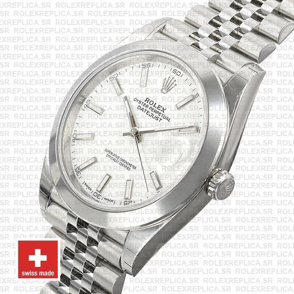 Rolex Datejust 41 904L Steel White Dial Replica Watch