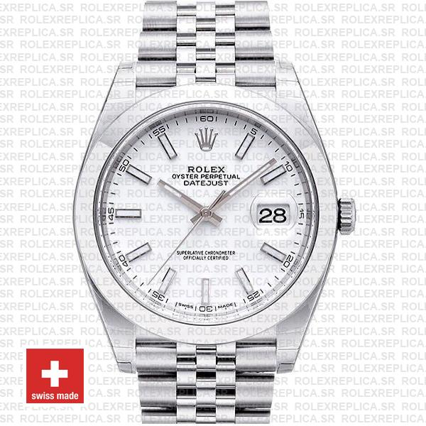 Rolex Datejust 904L Stainless Steel White Dial 41mm with Jubilee Bracelet & Smooth Bezel Fake Watch