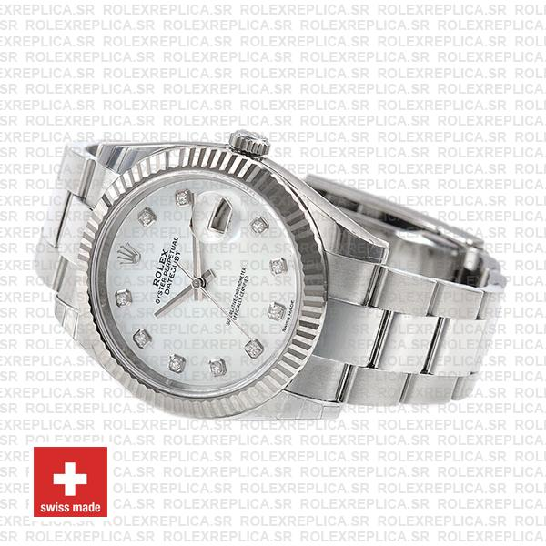 Rolex Datejust 41 Oyster 18k W Gold Fluted Bezel White Mop Dial Diamond Markers 126334