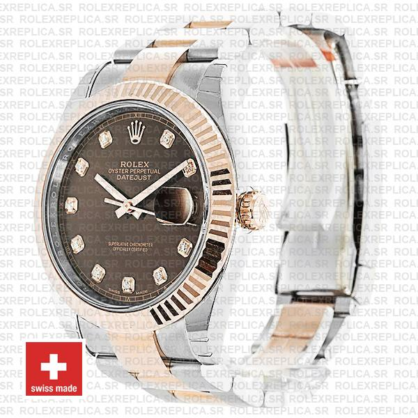 Rolex Datejust 41mm Two-Tone 18k Rose Gold 904L Steel Fluted Bezel Chocolate Dial
