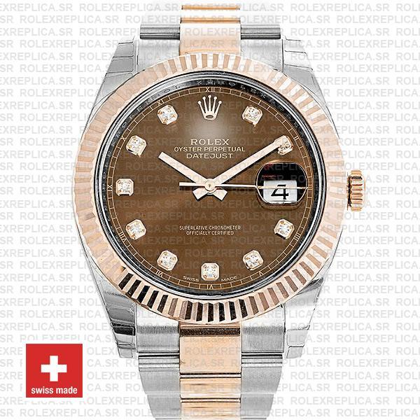 Rolex Datejust 41mm Two-Tone 18k Rose Gold 904L Steel Fluted Bezel