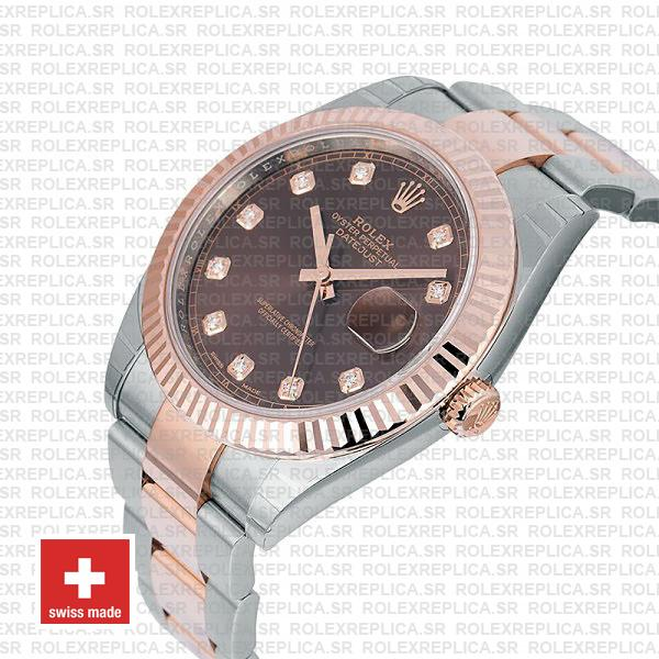 Rolex Datejust 41 Two-Tone Rose Gold Chocolate Diamond Dial Watch