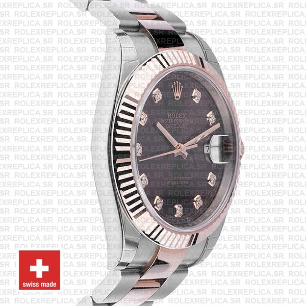 Rolex Datejust 41 Two-Tone Rose Gold Chocolate Diamond Dial Replica Watch