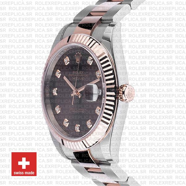 Rolex Datejust 41 Two-Tone Rose Gold Chocolate Diamond Dial Swiss Replica Watch