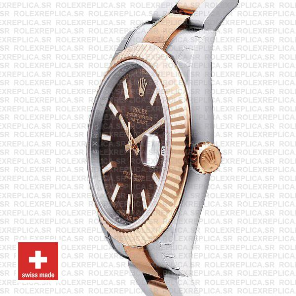 Rolex Datejust 41 Oyster 2 Tone 18k Rose Gold Fluted Bezel Chocolate Dial Stick Markers 126331 Swiss Replica