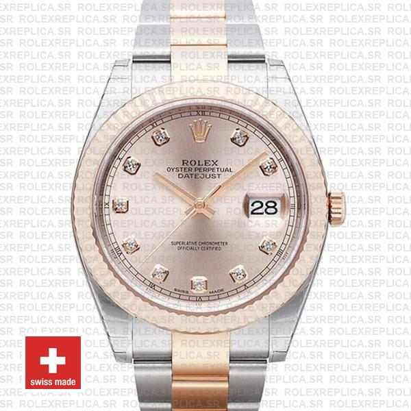 Rolex Datejust 41 Oyster 2 Tone 18k Rose Gold Fluted Bezel Pink Dial Diamond Markers 126331 Swiss Replica