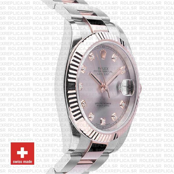 Rolex Datejust Two-Tone Pink Dial Diamonds Rose Gold Replica Watch