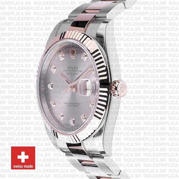 Rolex Datejust Two-Tone Pink Dial Diamonds Rose Gold Replica
