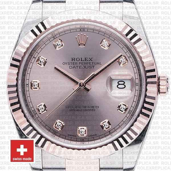 Rolex Datejust Two-Tone Pink Dial Diamonds Rose Gold Rolex Replica Watch