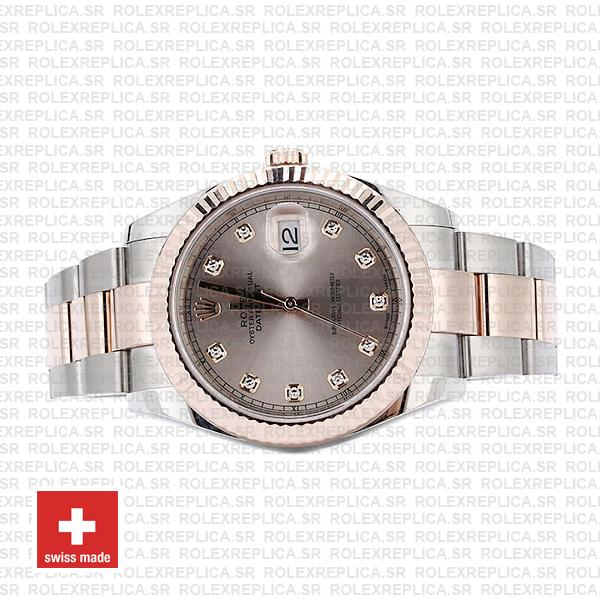 Rolex Datejust 41mm Oyster Two-Tone 18k Rose Gold Fluted Bezel Pink Diamond Dial 41mm