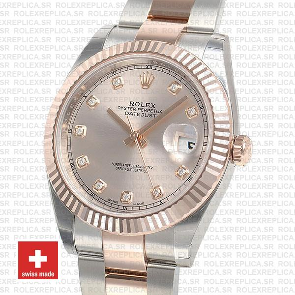 Rolex Datejust 41mm Oyster Two-Tone 18k Rose Gold Fluted Bezel