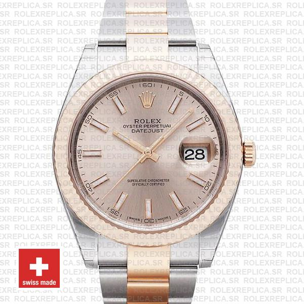 Rolex Datejust 41 Two-Tone Rose Gold Pink Dial Replica Watch
