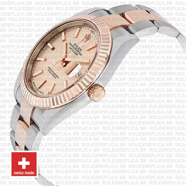 Rolex Oyster Perpetual Datejust Two-Tone Pink Dial 18k Rose Gold 904L Steel Fluted Bezel Oyster Bracelet 41mm
