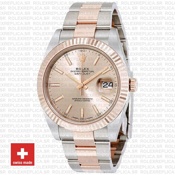 Rolex Oyster Perpetual Datejust Two-Tone Pink Dial 18k Rose Gold 904L Steel Fluted Bezel Oyster Bracelet