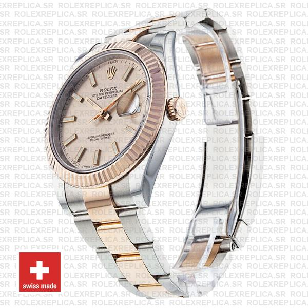 Rolex Oyster Perpetual Datejust Two-Tone Pink Dial 18k Rose Gold 904L Steel Fluted Bezel