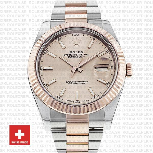 Rolex Oyster Perpetual Datejust Two-Tone Pink Dial 18k Rose Gold 904L Steel