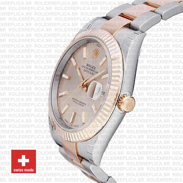 Rolex Datejust 41 Oyster 2 Tone 18k Rose Gold Fluted Bezel Pink Dial Stick Markers 126331 Swiss Replica